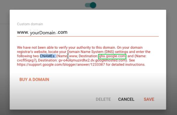 Set up custom domain in blogger
