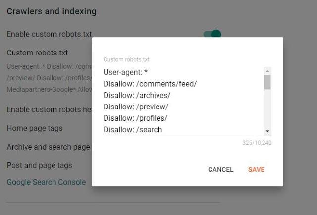 Custom robots.txt in Blogger new interface
